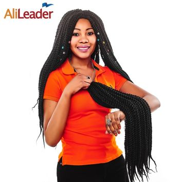 AliLeader Products Senegalese Twist Hair Crochet Braids Extensions 22 Inch 13 Colors Ombre Kanekalon Synthetic Hair For Braiding