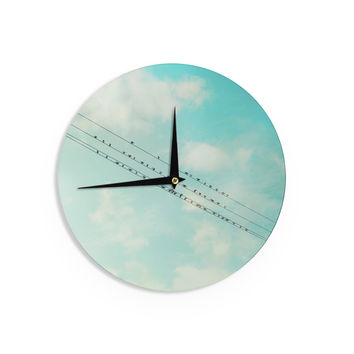 "Sylvia Cook ""Birds on Wires"" Teal Sky Wall Clock"