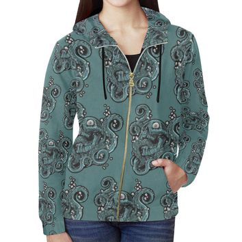 Skulls & Squids Design 1 Women's All Over Print Full Zip Hoodie