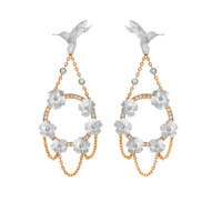 Theo Fennell - Paraiba & Diamond Hummingbird & Blossom Drop Earrings