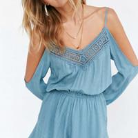 Lace Patchwork Cold Shoulder Romper