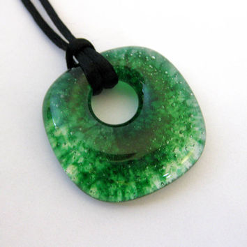 Green Necklace, Square Donut, Simple Necklace, Green Jewelry - Oakland - 4023 -2