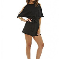 Black Round Neck Cold Shoulder Wrap Detail Romper