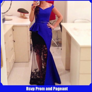Fashion Design Royal Blue Mermaid Long Evening Dress 2017 V-neck Cap Sleeve Black Lace Arabic Evening Dresses