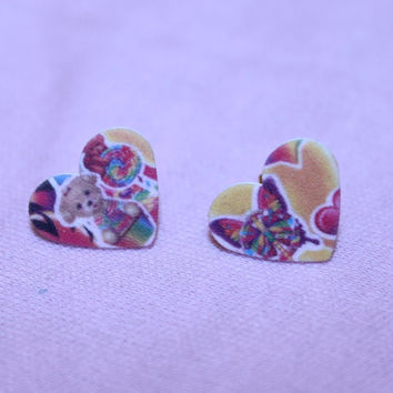 tiny colorful bear and butterfly studs