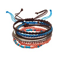 Mudd Beaded Stretch, Bangle & Braided Bracelet Set (Rose Gold/Silver/Gold)