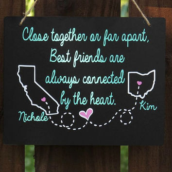 Long distance Best Friend gift, long distance relationship sign, Personalized BFF gift, customizable with any two states, countries & names
