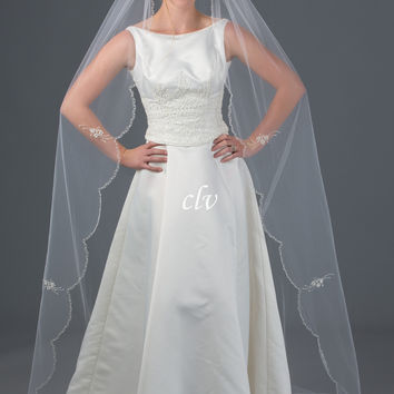 'Kloe' Chapel Length Veil with Bugle Bead and Appliques