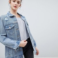 Bershka Oversized Denim Jacket at asos.com