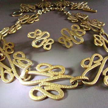 MONET Modernist Necklace Bracelet Earrings Set, Gold Tone Suite, Loops Swirls, Vintage