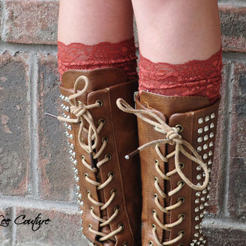 Lace Boot Cuffs - Faux Lace Boot Socks - Faux Lace Leg Warmers - Lace Boot Topper - Faux Knee High Sock - Womens