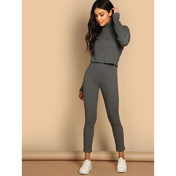 SHEIN Turtleneck Rib-knit Top & Leggings Set