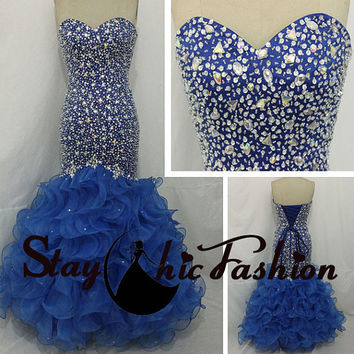 2015 Royal Blue Ruffled Mermaid Beaded Gown, Rhinestones Beaded Strapless Royal Prom Evening Dress
