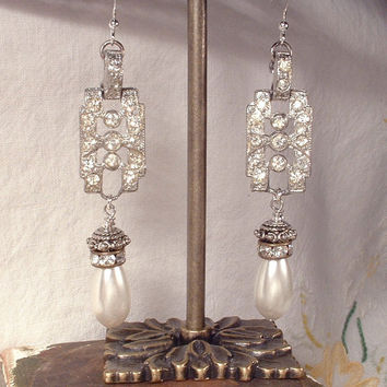 1920s Art Deco Clear Rhinestone & Pearl Sterling Silver Drop Earrings, Vintage Long Pave Crystal Dangle Bridal Statement Gatsby Flapper