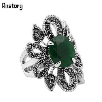 Rhinestone Hollow Flower Resin Cutting Rings For Women Vintage Look Antique Silver Plated Fashion Jewelry TR435