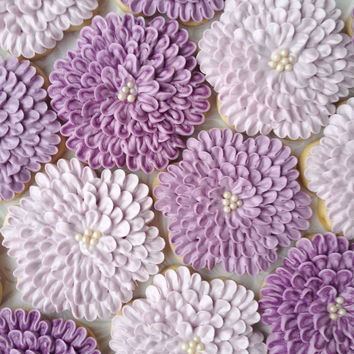 Shades of Purple Dahlia Flower Cookies - One Dozen Decorated Sugar Cookies