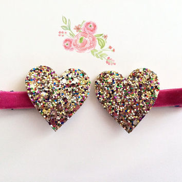 Multicolor Glitter Hearts Hair Clips,  hot pink Valentine's Day Hair Clips, Sparkly Hearts Hair Clips Meghan and Julie, Baby Hair Clips