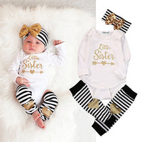 3pcs Newborn Kids Baby Girl Infant Long Sleeve Jumpsuit Bodysuit +Striped Leg Warmer+Headband  Clothes Outfit Set