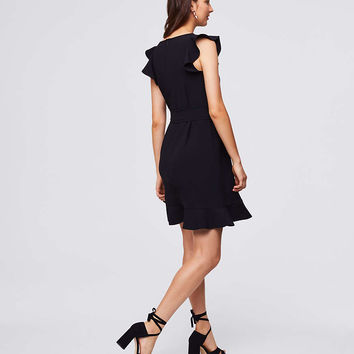 Flutter Belted Flare Dress | LOFT