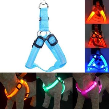 LED Nylon Pet Dog Cat Collar Peppy Dog Led Flashing Light Harness Collar Pet Safety Led Leash Rope Belt [8424636743]