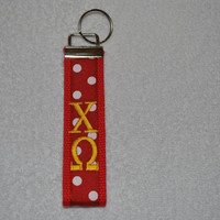 Chi Omega Sorority (OFFICIAL LICENSED PRODUCT) Monogrammed/Embroidery Key Fob Keychain Cotton Webbing Ribbon Wristlet