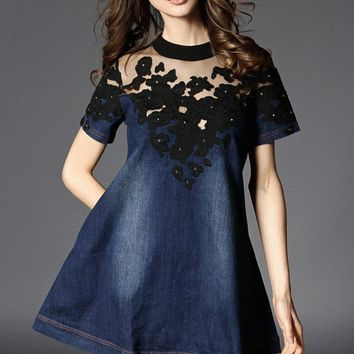 Embroidered Lace Denim Dress