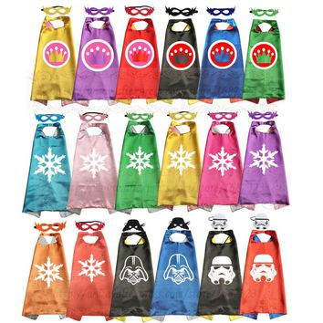 Crown Princess Theme Birthday Party Favor Girls and Boys Cosplay Costume Capes with masks Set