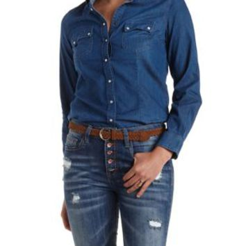 Dark Wash Denim Denim Chambray Button-Up Shirt by Charlotte Russe