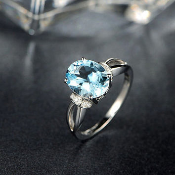2.31ctw Oval Blue Aquamarine,Clarity IF,Engagement ring,VS Diamond wedding band,14K Gold,Gemstone Promise Ring,Bridal Ring,Split Loop Shank