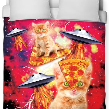 ROB Bacon Pizza Space Cat Duvet Cover