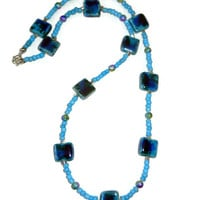 Blue Pearlized Ceramic Beaded Necklace