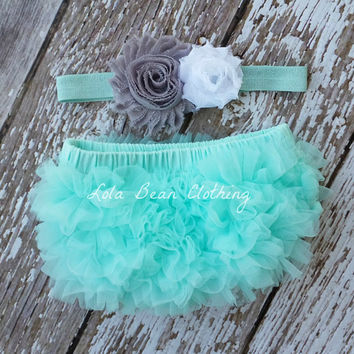 Mint Baby Bloomers Grey White Mint Headband Set Take Home Outfit Newborn Photography Prop Cake Smash 1st Birthday Outfit