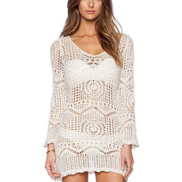 Lace Knitting Hollow Out Bikini - Cover Up White Beach Dress
