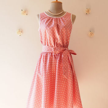 Pink Dress Pink Polka Dot Swing Dress Vintage Retro 50's Inspired Tea Dress Pink Bridesmaid Dress Party Dress Dancing Dress -XS-XL,Custom