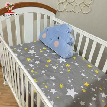 KAMIMI 130*70cm cute Baby crib bedding set 100% cotton bed sheets baby bedding 4 color for boys girls I044