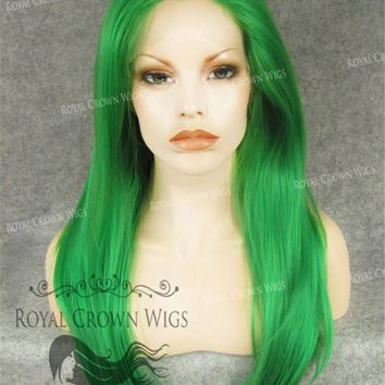 "24 inch Heat Safe Synthetic Straight Texture Lace Front ""Aphrodite"" in Green"