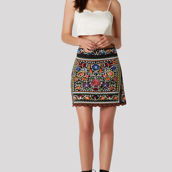 Color At Me Embroidered Skirt