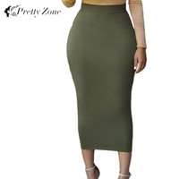 2016 New Fashion Faldas Summer Women Long Maxi Skirt Sexy High Waist Skirts Womens Bodycon Pencil Skirt Vintage Saia Longa