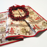 Christmas Table Runner, Santa Claus Reindeer