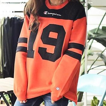 Champion Women Men Fashion Print Round Collar Sweater Sweatshirt Orange Red