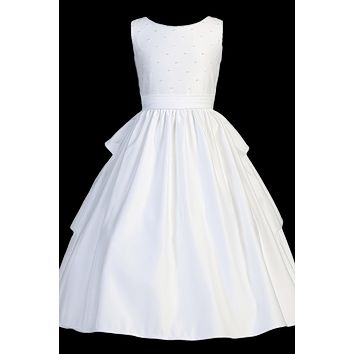 Three Tiered Back Satin Communion Dress w. Pearl Trim Bodice 5-14