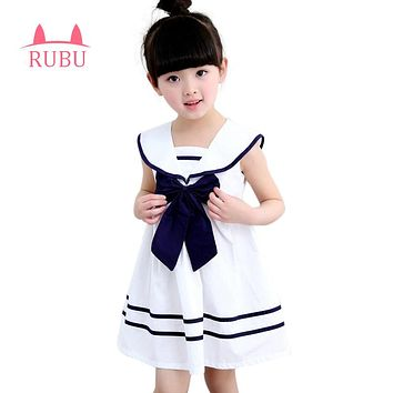 RUBU 2017 New Summer Navy Sailor Uniforms Casual Style Girls Dress White Blue Pink Colors Big Bow Baby Children Dresses