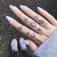 Women Vintage 9Pcs/Set Popular Antique Silver Knuckle Midi Mid Finger Rings Boho