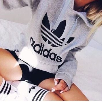 """Adidas"" Print Hooded Pullover Tops Sweater Sweatshirts Black high quality"