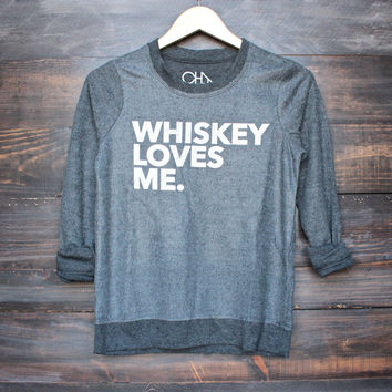 Chaser whiskey loves me sweatshirt in black