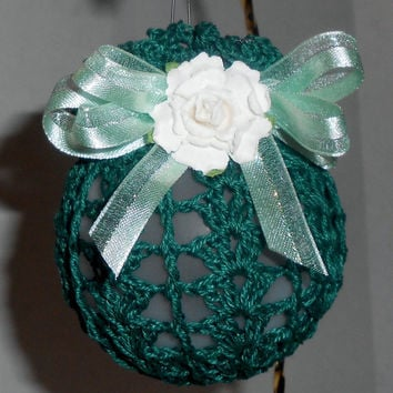 Crochet Victorian Christmas Ball Ornament - Green with Green accent