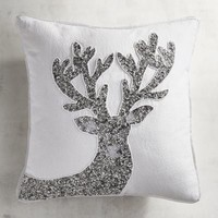 Silver & White Beaded Reindeer Pillow