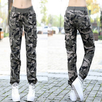 Womens Camouflage Pants 2016 New Fashion Ladies Camo Jogger Pants Elastic Waist Multi-Pockets Free Shipping