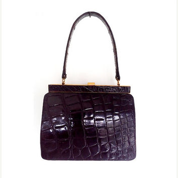 SALE Vintage Black Alligator Leather Bag, Italian Leather Bag,1950s, mod .
