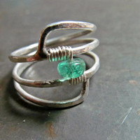 May Birthstone Emerald Ring // Artisan Designed Sterling Silver Ring // Genuine Emerald Wire Wrapped Birthstone Ring